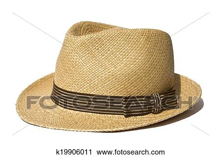 Stock Photography - Summer straw hat isolated on white background.  Fotosearch - Search Stock Photos 42f5dd0ed942