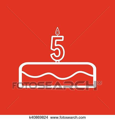 Clipart Torta Con Candele In Il Forma Di Numero 5 Icona