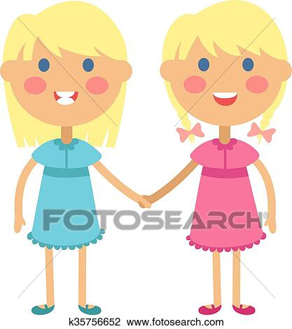 Clipart Of Twins Happy Kids Holding Hands Boy And Girl Vector