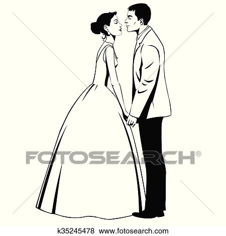clip art of wedding couple in love k35245478 search clipart rh fotosearch com wedding couple clipart free wedding couple clipart