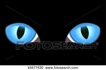 심상, 의, 고양이, 눈, 에서, 암흑 클립아트   k5577430   Fotosearch
