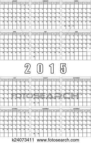 Calendario Grande.2015 Planificador Calendario Grande Editable Espacio Clipart