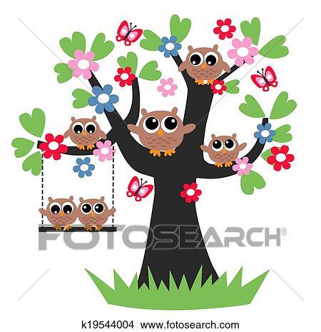 Dibujos Búhos árbol Genealógico Juntos K19544004 Buscar Clip