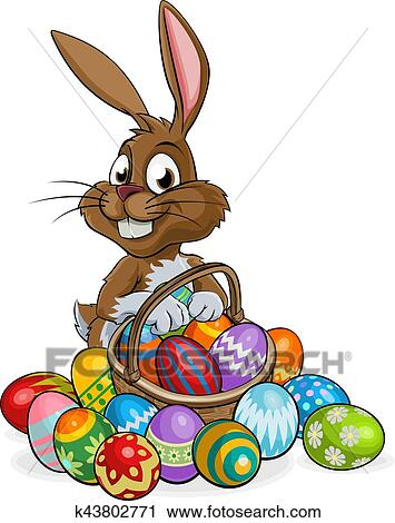 Dessin Anime Lapin Paques A Oeufs Panier Clipart K43802771