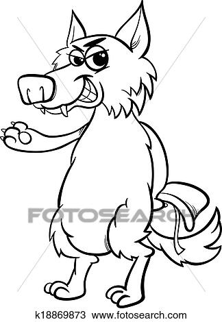 Clipart of fairy tale wolf coloring page k18869873 - Search Clip Art ...