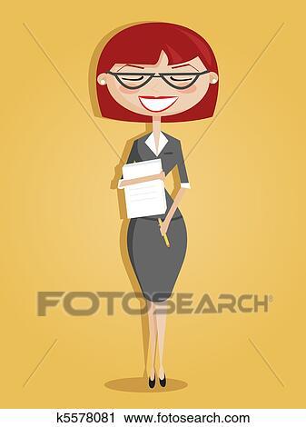 Clipart Früher Karikatur Sekretärin K5578081 Suche Clip Art