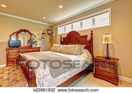 Archivio Fotografico - lusso, camera letto, intagliato, legno ...