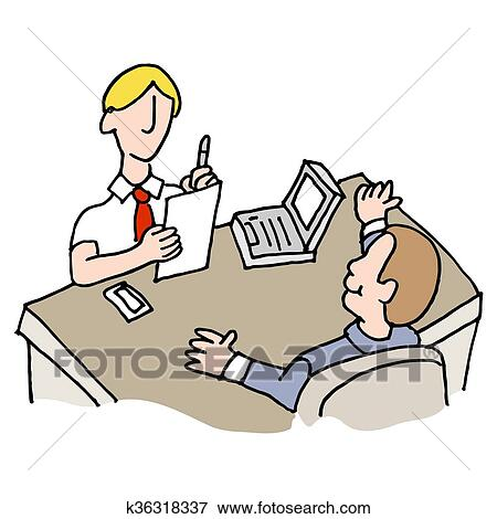 clip art of man interviewing another man k36318337 search clipart