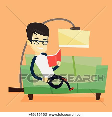 Man Reading Book On Sofa Vector Illustration Clipart K45615153