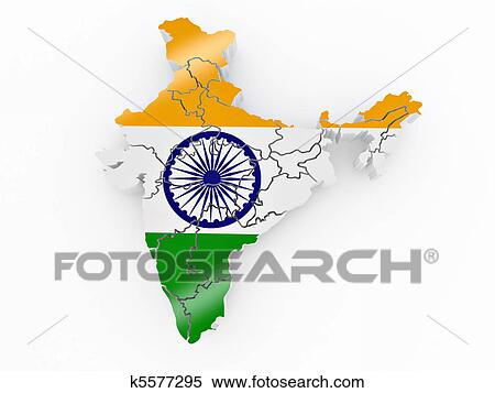 Map of India in Indian flag colors Stock Illustration Indian Flag With Map on indian print with flag, indian map with key, indian man with flag, india flag,
