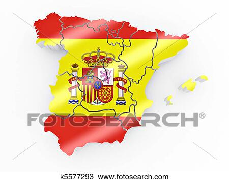 Spanish Map Of Spain.Map Of Spain In Spanish Flag Colors Drawing K5577293 Fotosearch