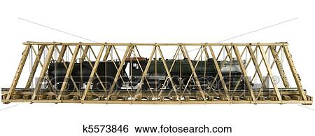 Wooden Model Truss Bridge With Brass Train On A White Background