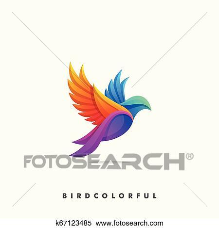 Passaro Coloridos Conceito Ilustracao Vetorial Desenho