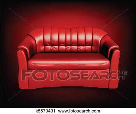 Clipart Of Red Sofa On Black Background K5579491 Search Clip Art