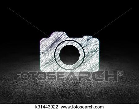 Grunge Camera Vector : Clip art of travel concept: photo camera in grunge dark room