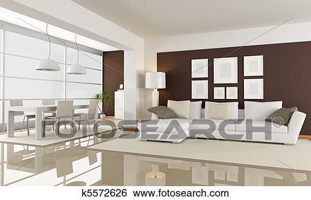 Weiß, und, braun, wohnzimmer Stock Fotograf