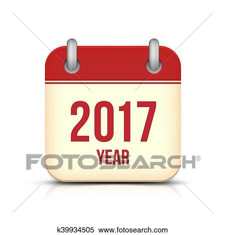 Calendario Vector Blanco.Ano Nuevo 2017 Calendario Vector Icono Blanco Clipart