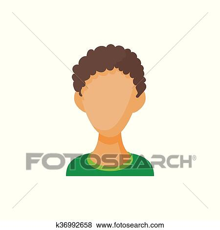 Avatar Men With Curly Hair Icon Cartoon Style Clip Art K36992658 Fotosearch