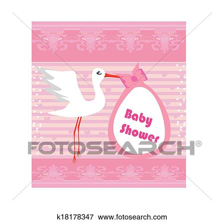 Clip Art Of Baby Shower Greeting Card K18178347 Search Clipart