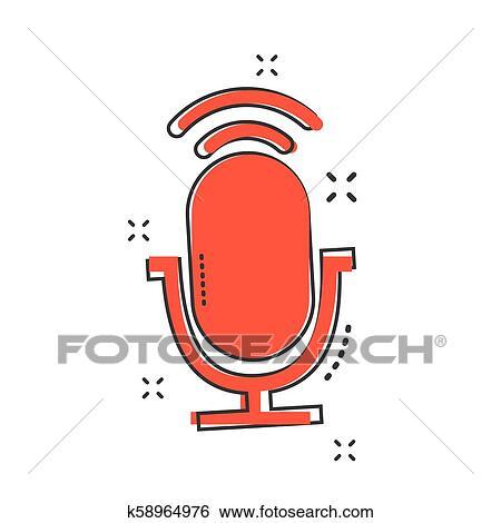 Caricatura, micrófono, icono, en, cómico, style , mic, ilustración,  pictogram , micrófono, señal, salpicadura, empresa / negocio, concept  Clip
