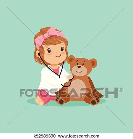 Clipart Of Cartoon Toddler Girl Playing Doctor Examining Her Plush - Toddler-cartoon-characters