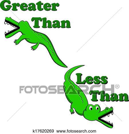 Stock Illustration Of Greater Than Less Than Alligators K17620269