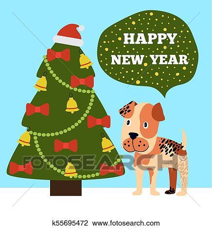 happy new year greeting card cartoon grey spot dog clipart k55695472 fotosearch https www fotosearch com csp558 k55695472