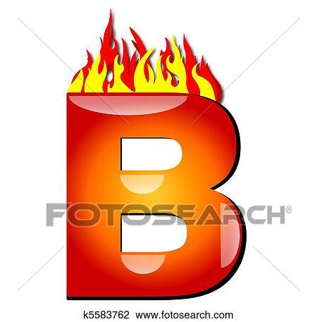 2b2c0062c8b8 Clip Art - Letter B on Fire. Fotosearch - Search Clipart