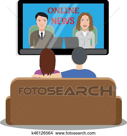 Clipart Of People Watching News On Tv K46126564