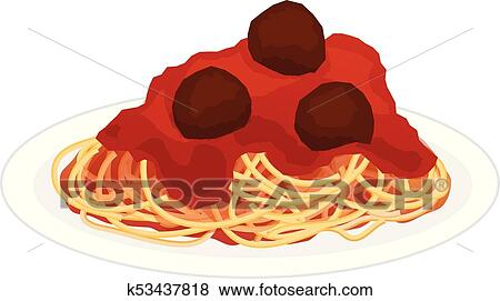Plate of Spaghetti with Meatballs Clip Art | k53437818 ...