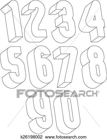 Clipart 3d Schwarz Weiß Zahlen K26198002 Suche Clip Art