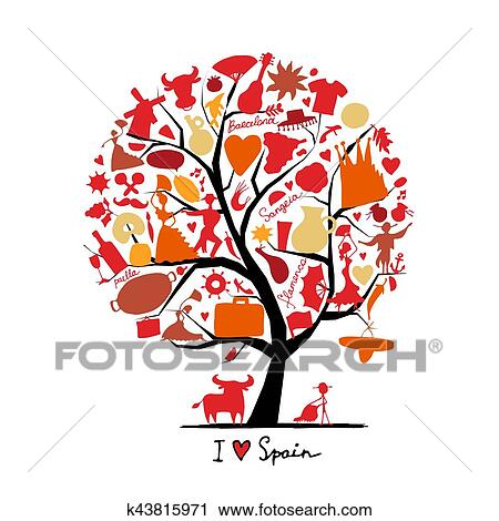 Clipart Of Art Tree With Spain Symbols For Your Design K43815971