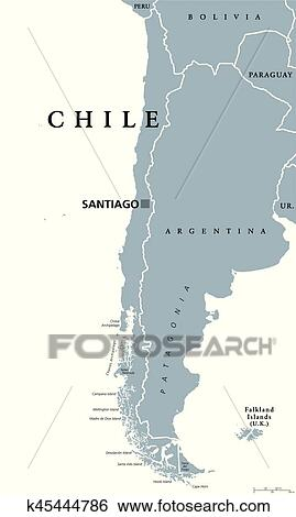Clip Art Of Chile Political Map K45444786 Search Clipart