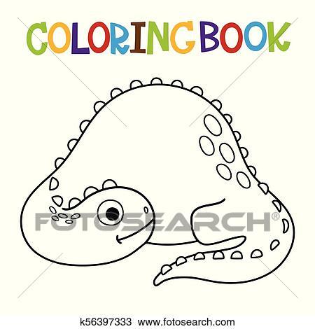 Cute Dino coloring book Clipart | k56397333 | Fotosearch