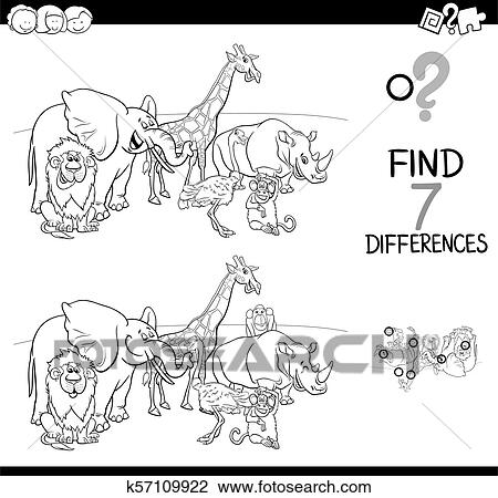 Differences Game With Wild Animals Color Book Clipart K57109922  Fotosearch