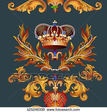 Heraldic Seamless Wallpaper Pattern With Fleur De Lis And