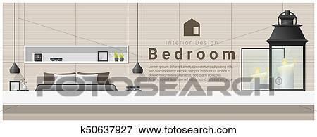 Clip Art Of Interior Design With Table Top And Modern Bedroom
