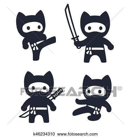 Clipart mignon dessin anim ninja chat ensemble k46234310 recherchez des clip arts des - Dessin anime ninja ...