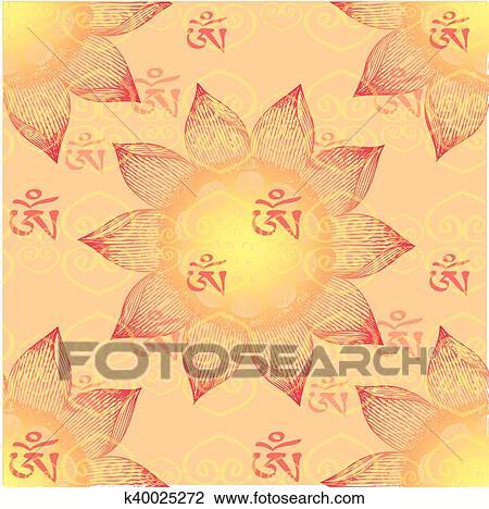 Om Design Lotus Flower Clipart K40025272 Fotosearch