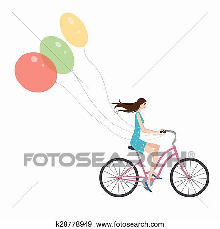 Ragazza Su Bicicletta Clip Art