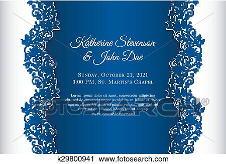 Romantic Wedding Invitation With Blue Background And Floral Ornament As Decoration Clipart K29800941 Fotosearch