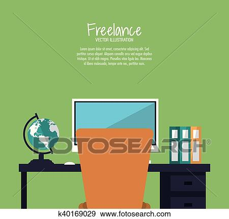 Space Of Work And Freelance Design Clip Art K40169029 Fotosearch