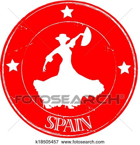 Clip Art Of Stamp Flamenco Spain K18505457