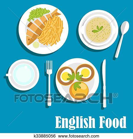Tradizionale, nazionale, inglese, cucina, piatti Clip Art ...