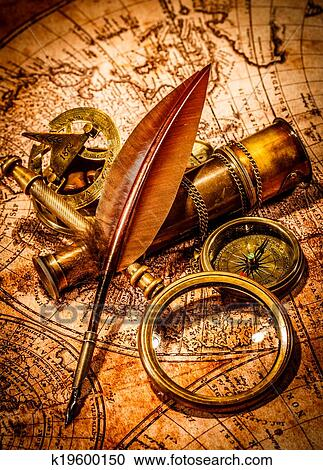 Stock photography of vintage magnifying glass lies on an ancient stock photography vintage magnifying glass lies on an ancient world map fotosearch search gumiabroncs Image collections