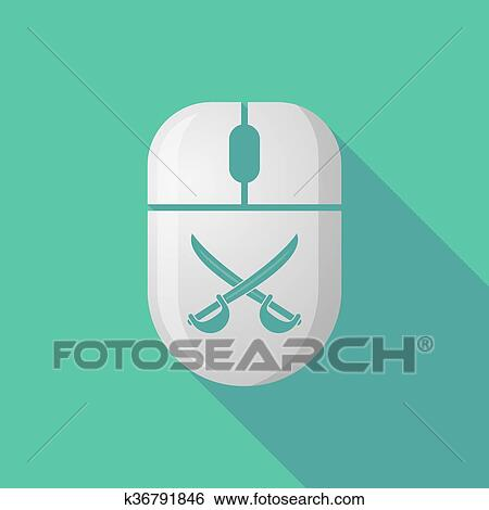 Wireless long shadow mouse icon with two swords crossed Clip Art
