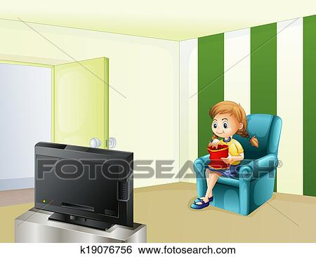 A Girl Watching Tv While Eating Clip Art K19076756