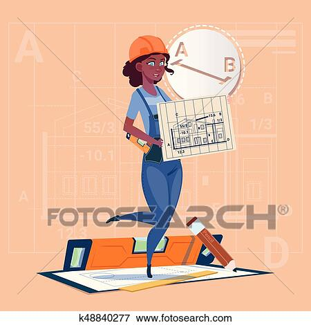Clip art of cartoon builder woman hold plan of building blueprint cartoon builder woman hold plan of building blueprint wearing uniform and helmet mix race construction worker contractor flat vector illustration malvernweather Image collections