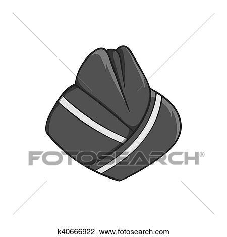 Chapeau Hotesse Icone Noir Monochrome Style Dessin