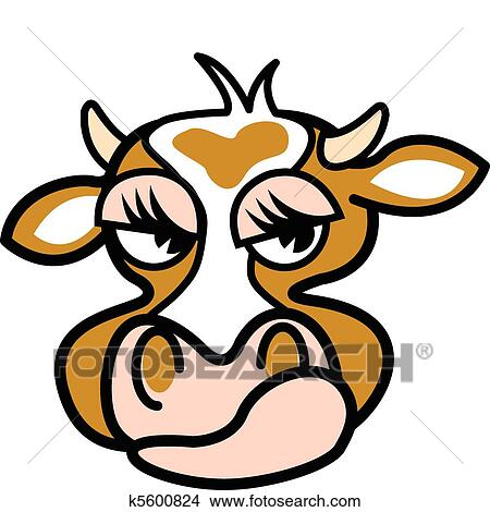 Cow with a mad expression Clipart